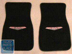 1966 68 Pontiac Gto Lemans Embroidered Black Carpeted Floor Mats Set Ebay