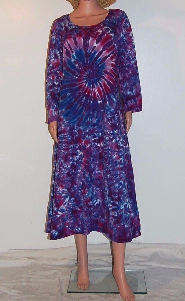 Woherren TIE DYE Long Sleeve Dress lila Spiral Blotter art sm med lg xl 2X 3X