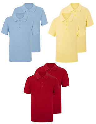 BOYS 2 PACK WHITE SCHOOL POLO T SHIRTS PIQUE EX UK STORE 3-16 YEARS NEW