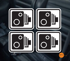 Safety Camera Stickers black on white 4x 80x70mm / Car Dashcam Decals
