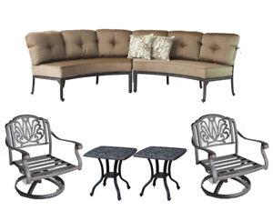 Wondrous Details About Patio Curved Sofa Elisabeth 2 Pc Club Swivel Rockers End Tables Desert Bronze Ibusinesslaw Wood Chair Design Ideas Ibusinesslaworg