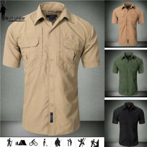 Men-039-s-Outdoor-Military-Tactical-Quick-Dry-Short-Sleeve-Shirt-Hiking-Casual-Shirt
