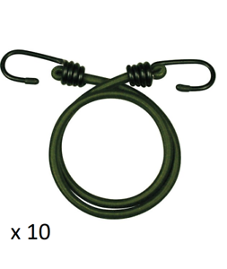 """10 x 18 /"""" Elasticated Bungee Cords Military Army Straps Hook 8mm Olive Green"""