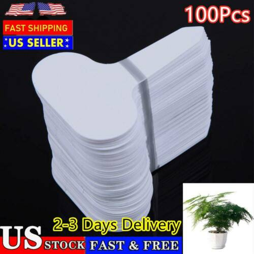 100PCS Plastic Plant T-Type Tags Markers Nursery Garden Labels White ✈US STOCK