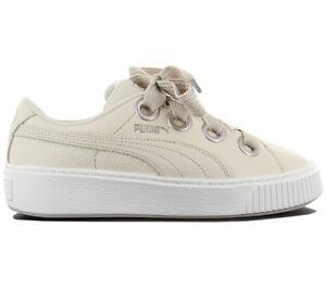 Puma-Platform-Kiss-Leather-Mujer-Sneaker-Zapato-de-Cuero-Bambas-Basket-366460-02