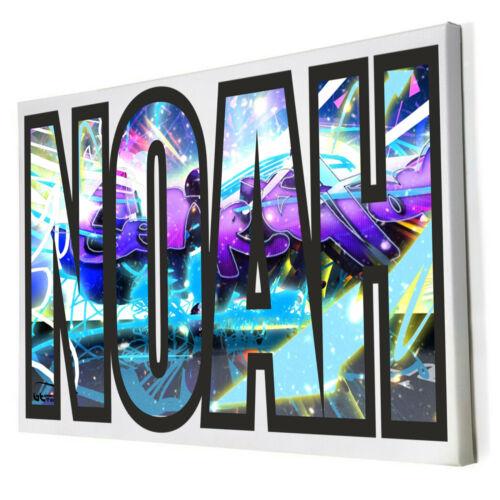 Border Graffiti 3D Art Personalised ANY Name Framed Canvas Bedroom Wall Decor