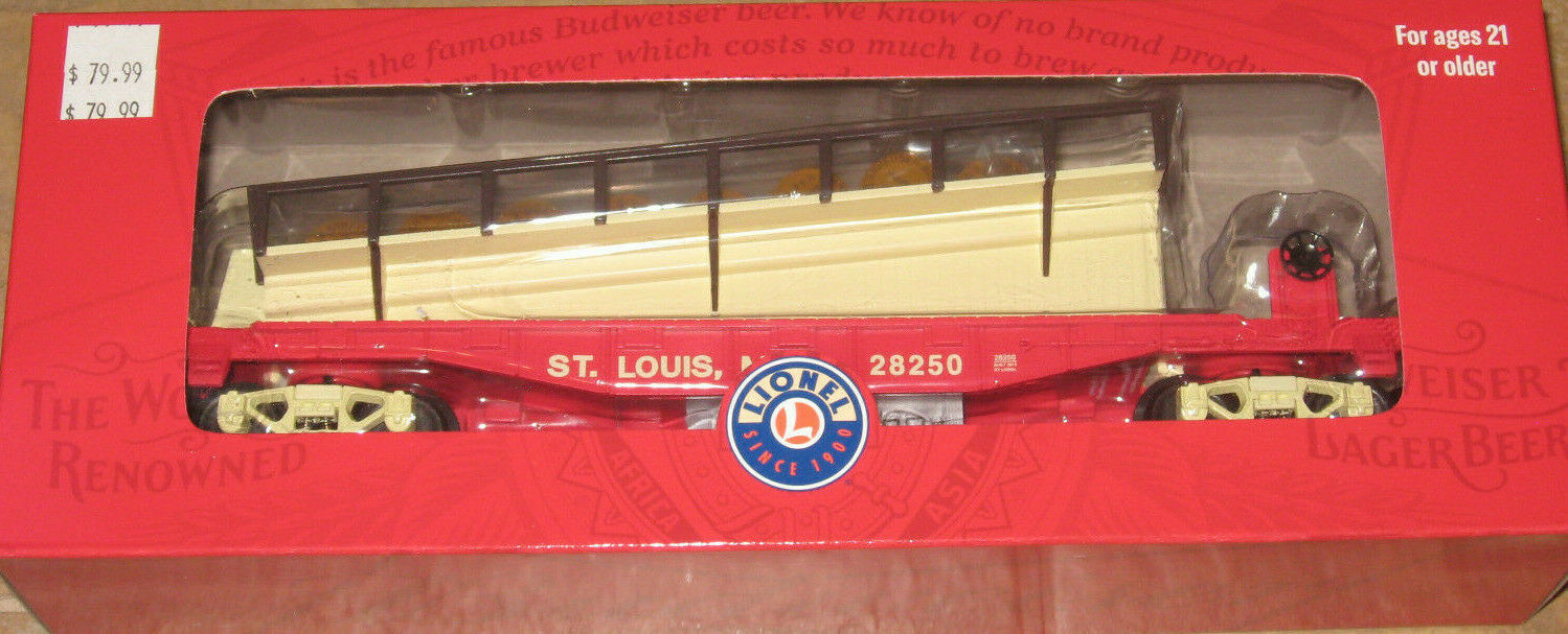 LIONEL 1928250  ANHEUSER BUSCH BARREL RAMP CAR NEW NIB