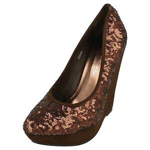 Spot-On-f9599-mujer-marron-bronce-lentejuelas-Zapatos-de-salon-r34b-Kett