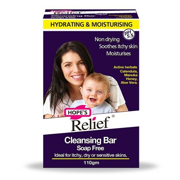 HOPE'S RELIEF CLEANSING BAR 110G SOAP FREE FOR ITCHY DRY SENSITIVE SKIN HOPES