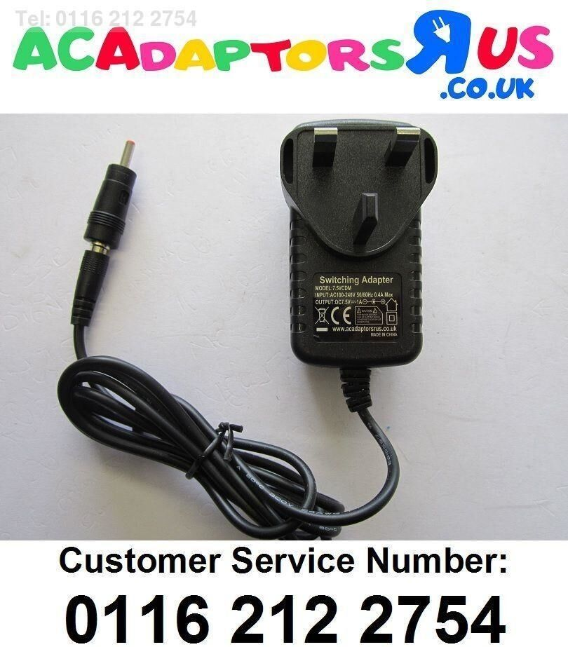 7.5V 1A 1000mA Mains AC-DC Switching Adaptor Power Supply 4mm x 1.7mm Tip