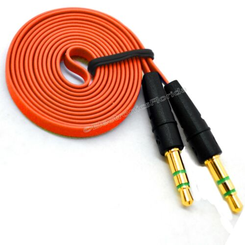 b232 3.5mm Flat Male Stereo Audio Auxiliary AUX Cable for iPod Car Phone Orange