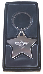 Personalised-Chunky-High-Polished-Chrome-BEE-Star-Keyring-Keychain-ENGRAVED-FREE