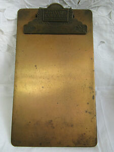Vintage/ Antique ~ GUSTAVE A LARSON CO~Milwaukee, Wisc~ Copper / Brass Clipboard