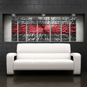 Metal wall art modern contemporary abstract sculpture red painting home decor lg ebay Home decor wall art contemporary