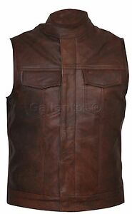 Cut-off-Cowhide-Brown-Leather-Mens-Womens-Gilet-Vest-Waiscoat-Biker-Motorcycle
