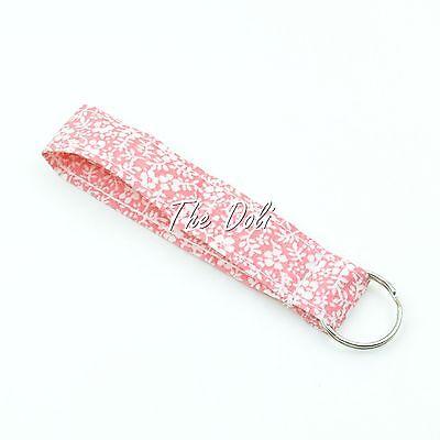 Sakura Print Wristlet Fabric Lanyard Key Fob Key Chain for ID Badge Holder