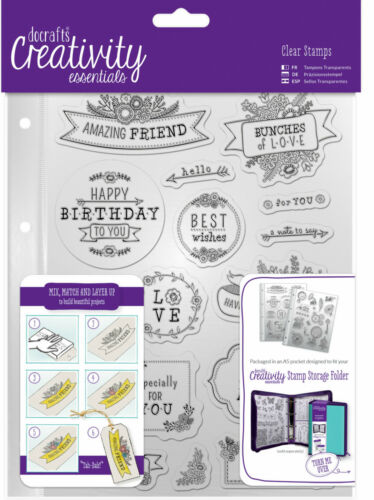 Docrafts Papermania FOLK SENTIMENT birthday love A5 stamp set storage pocket