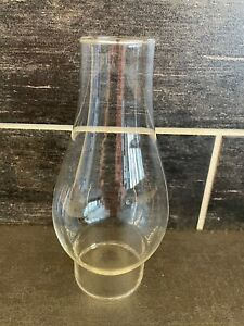 "VTG GLASS OIL HURRICANE LAMP CHIMNEY GLOBE SHADE 7 5/8"" T 2 1/2"" Fitter G"