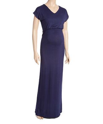 100% Vero Maternity Maxi Abito Taglia 10 Blu Navy Con Vita Stile Impero-mostra Il Titolo Originale
