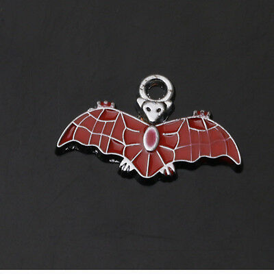 New Alloy Crafts Red Bats Art Enamel Alloy Jewelry Findings Charms Pendants