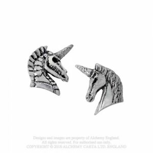 ALCHEMY-ENGLAND-Gothic-Steampunk-Surgical-Steel-Pewter-EARRINGS-Unicorn-Studs