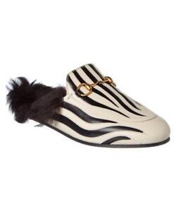 6f9eeefa54a Gucci Princetown Zebra Leather Fur Flat Mule Slide Sandals Shoes ...