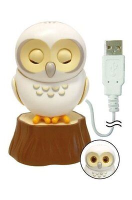 Healing Owl USB Drive Cord Cable Moving Speaking Healing Gadget Toy (White)