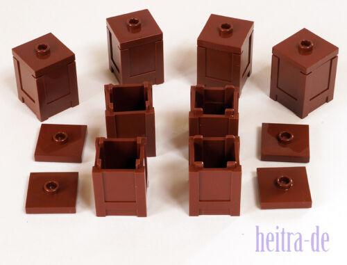 LEGO 8 X SCATOLA 2x2x2 MARRONE CON COPERCHIO MARRONE BOX container 61780 87580 Merce Nuova