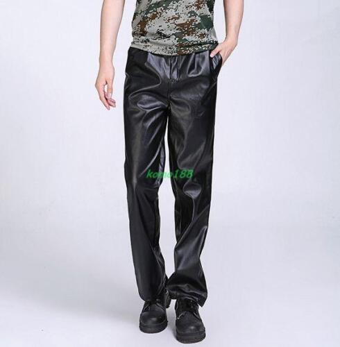 Mens punk straight leg faux leather pants moto biker loose trousers
