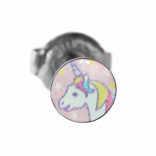 1 Paar Ohrringe Chirurgenstahl Ohrstecker mit Einhorn Studex Sensitive