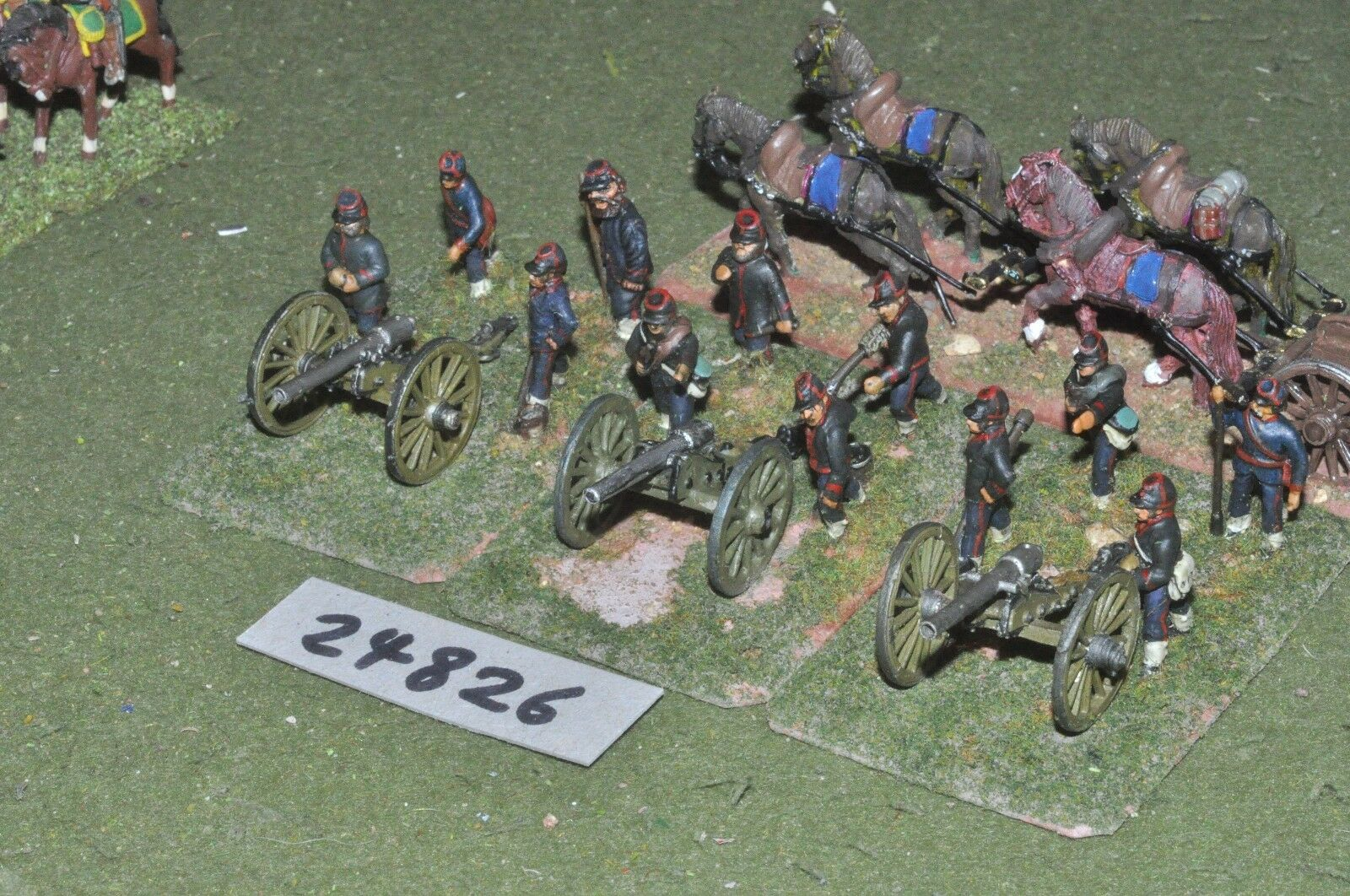 25mm 19th century   french - 3 guns & limber - art (24826)