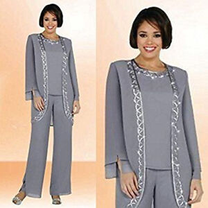 771097a8dc56 3 Pieces Silver Gray Wedding Mother Of The Bride Dresses Trouser ...