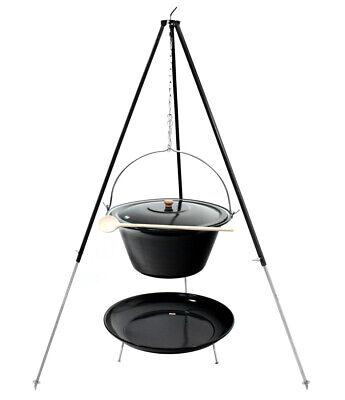 180 Gestell schwarz Löffel Feuerstelle Deckel Gulaschkessel 30 Liter emaille