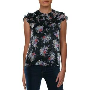 Rebecca Taylor Womens Black Silk Floral Print Top Blouse Shirt 8 BHFO 2589