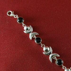 Bracelet-Argent-925-034-Lune-034-serti-onyx-noir