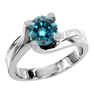 0 75 carat blue solitaire engagement ring 14k