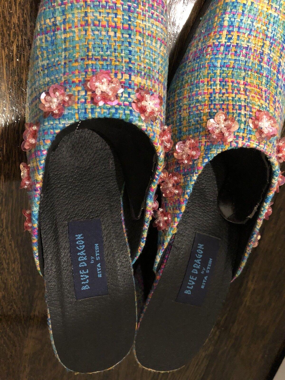 New Blau Dragon By Blau Rita Stein Schuhes Pink Blau By Tweed Heels Sequin Flower Detail fe9f43