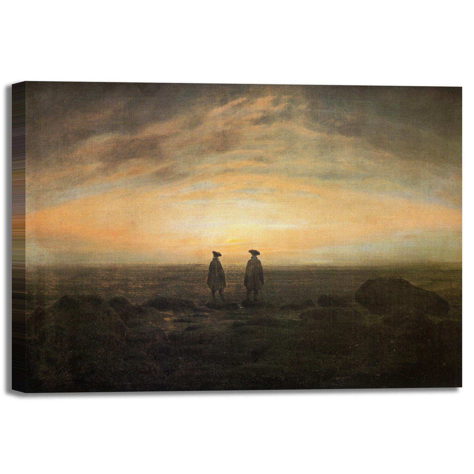 Caspar uomini in riva al mare quadro stampa tela dipinto telaio arrossoo casa