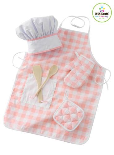 Kidkraft Pink Chef Accessory Set Chef/'s Hat Oven Mitt;Potholder Spatul Apron