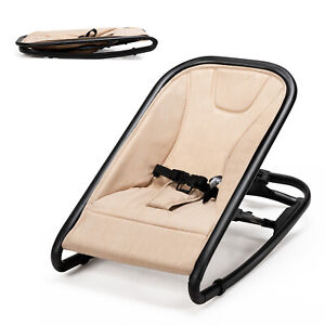 2-in-1 Baby Bouncer & Rocker Infant Adjustable Folding Rocking Seat Beige