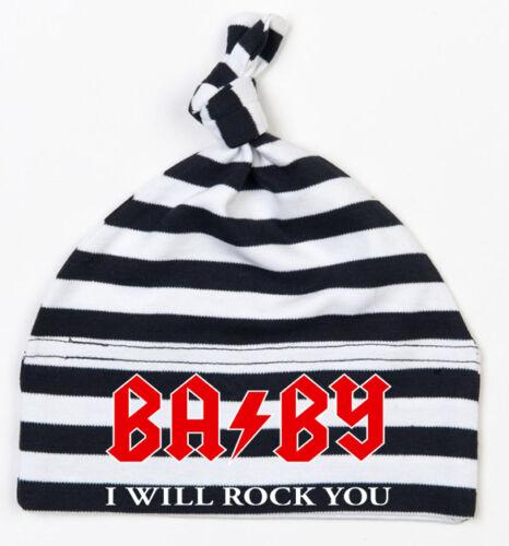 BABY I WILL ROCK YOU Einzelknoten Babymütze schwarz-weiß gestreift