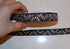 1m navy crystal jacquard embroidered ribbon lace applique trimming decor Indian
