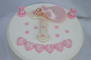 baby girl christening cake decoration topper with cross and teddy