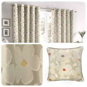 Fusion-AURA-Natural-Daisy-Floral-100-Cotton-Eyelet-Curtains-amp-Cushions