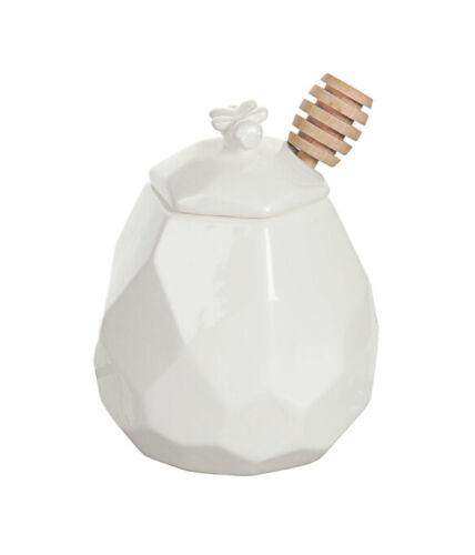 White Porcelain Honey Pot Jar with Wooden Dipper Stick Spoon