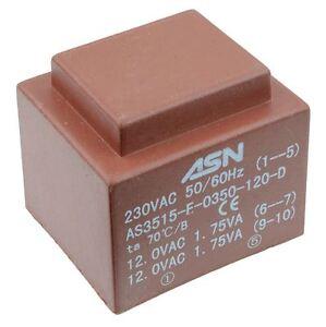 Transformateur secteur PCB 6 VA encapsul/é 2 x 115 V 2 x 12 V