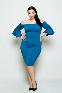 16ac74fd6ad Plus Size Off The Shoulder Flared Sleeve Bodycon Midi Dress Teal (1X ...