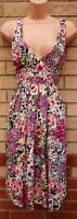 NEW LOOK RUCHED BACK V NECK PINK PURPLE BLACK FLORAL SKATER SUMMER DRESS 8 S