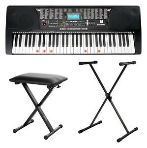 Keyboard 61 Tasten Digital Piano Sounds Rhythmen USB schwarz Set Ständer Phones