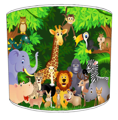 Children`s Jungle Animals Lampshades Ideal To Match Jungle Animals Duvet Covers.